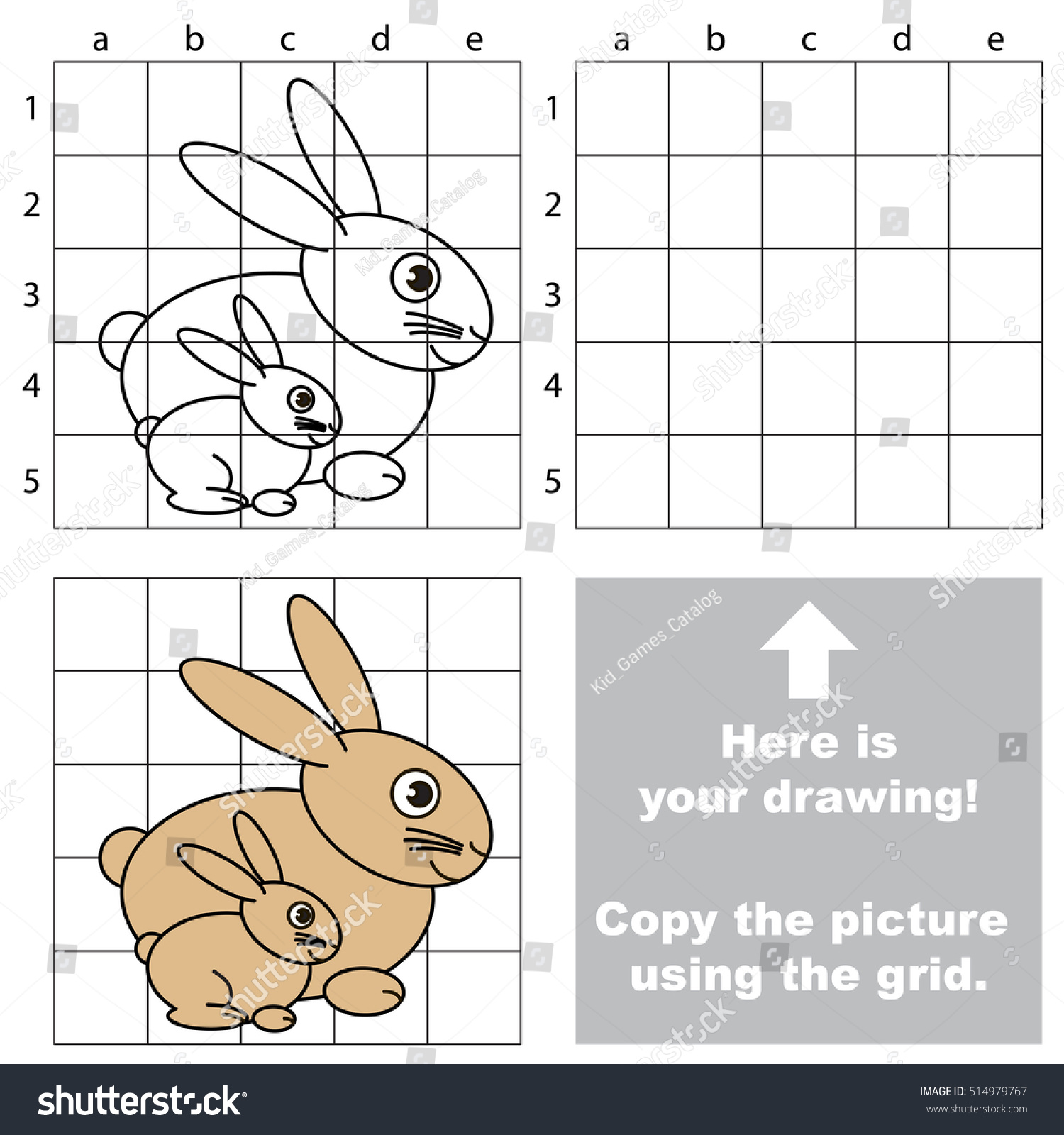 Drawing Using Grid Lines : Copy picture using grid lines kid stock vector