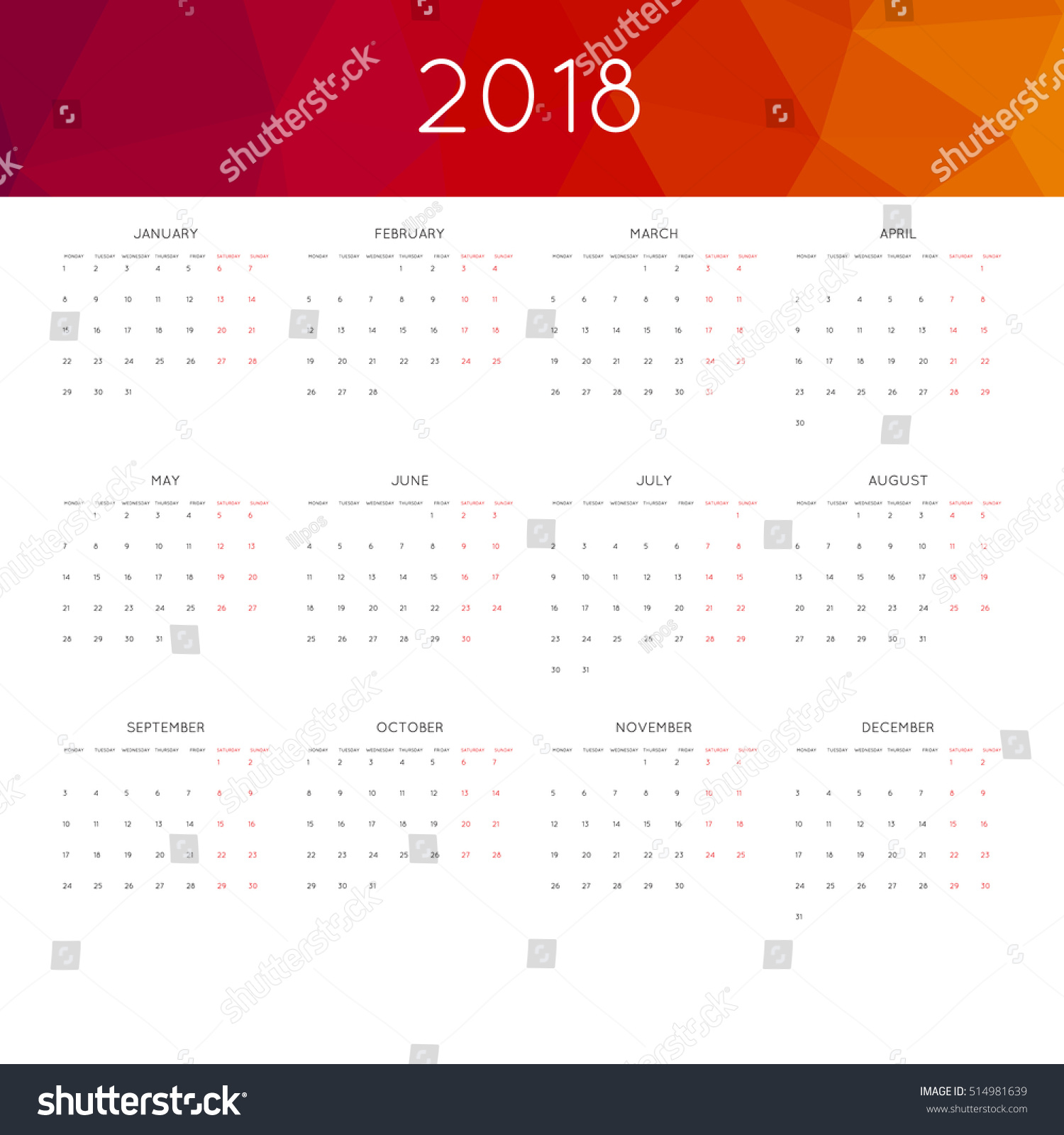 May Calendar Header : Calendar year simple style abstract stock vector