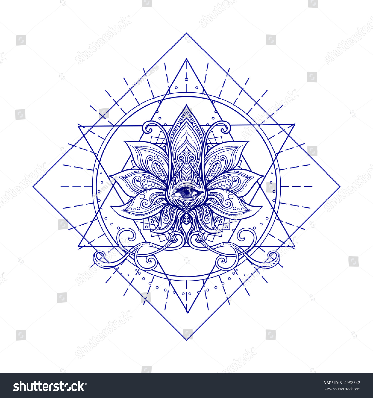 Vector Ornamental Lotus Flower Sacred Geometry Stock Vector Royalty