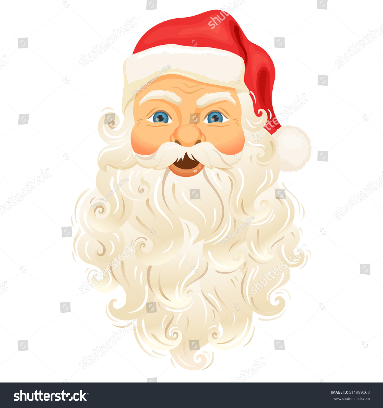 santa clause face beard hat cartoon stock vector 514999063