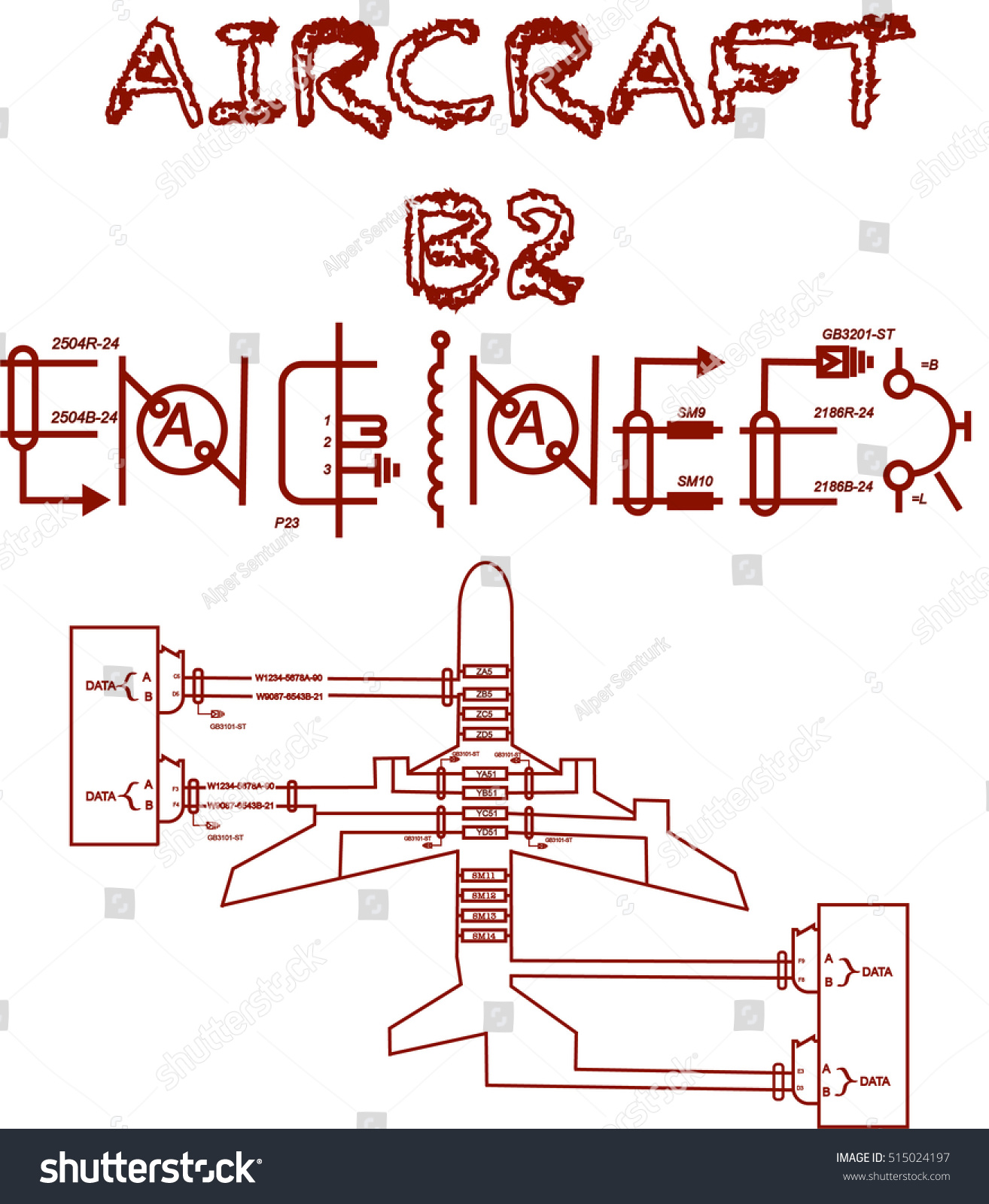Aircraft B 2 Engineer Text Wiring Diagram Stock Vector Royalty Free And Schematic Diagrams B2 With Designed Like An For Printing