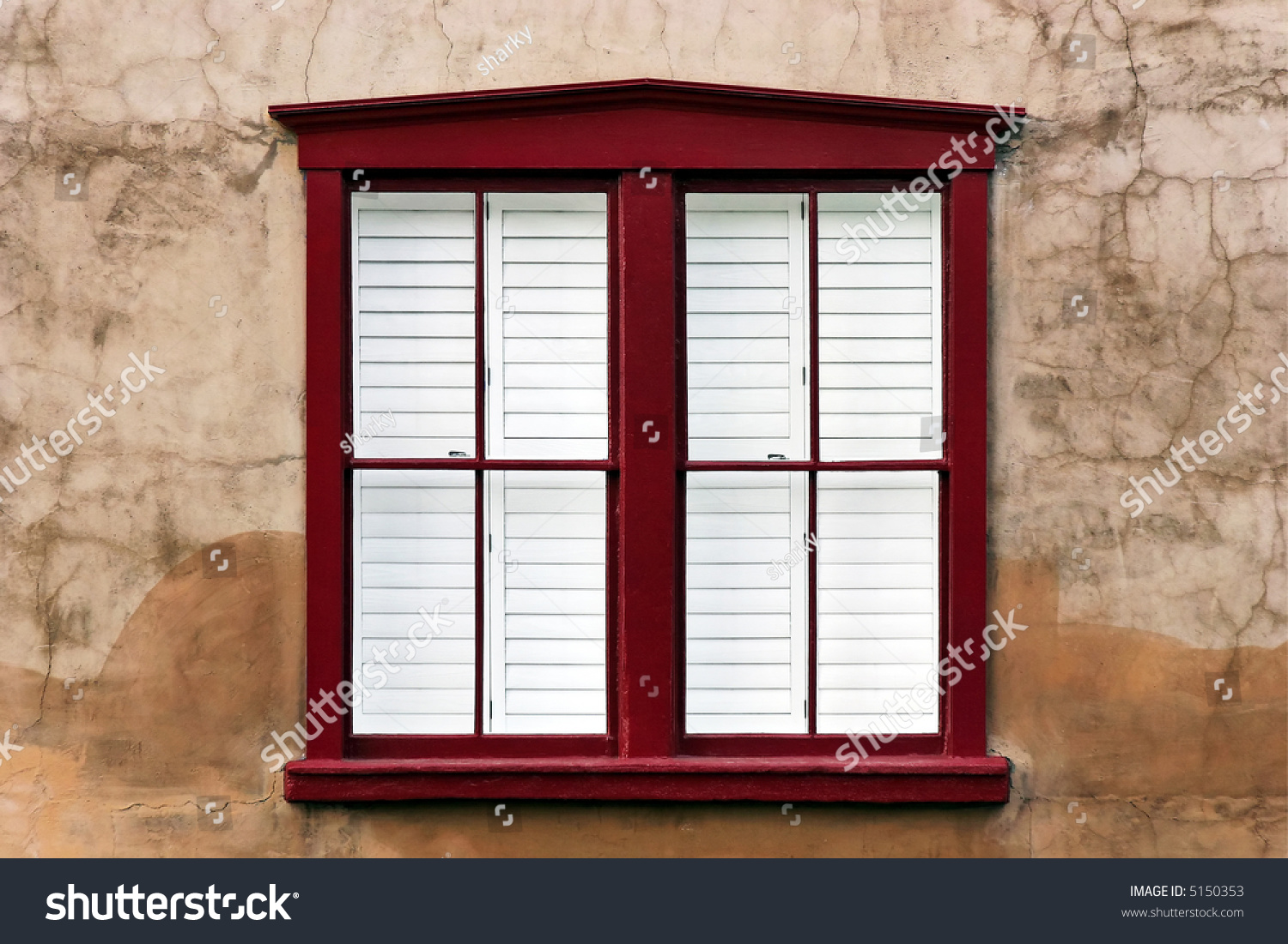 Brown Stucco Wall Modern Red Wooden Stock Photo (100% Legal ...