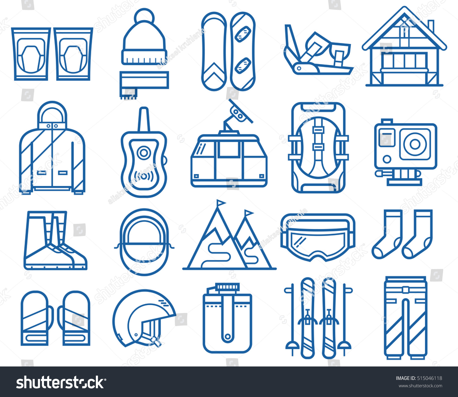 Snowboarding and skiing thin line icons Winter sports and activity elements set Mountain ski and snowboard equipment and gear vector icons Winter active lifestyle collection Snowboard travel set
