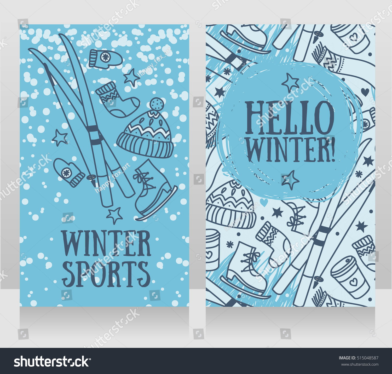 hello winter cards banners for winter games and sports vector illustration