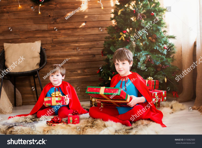 Children Superhero Costume Bunch Christmas Gift Stock Photo (Edit ...