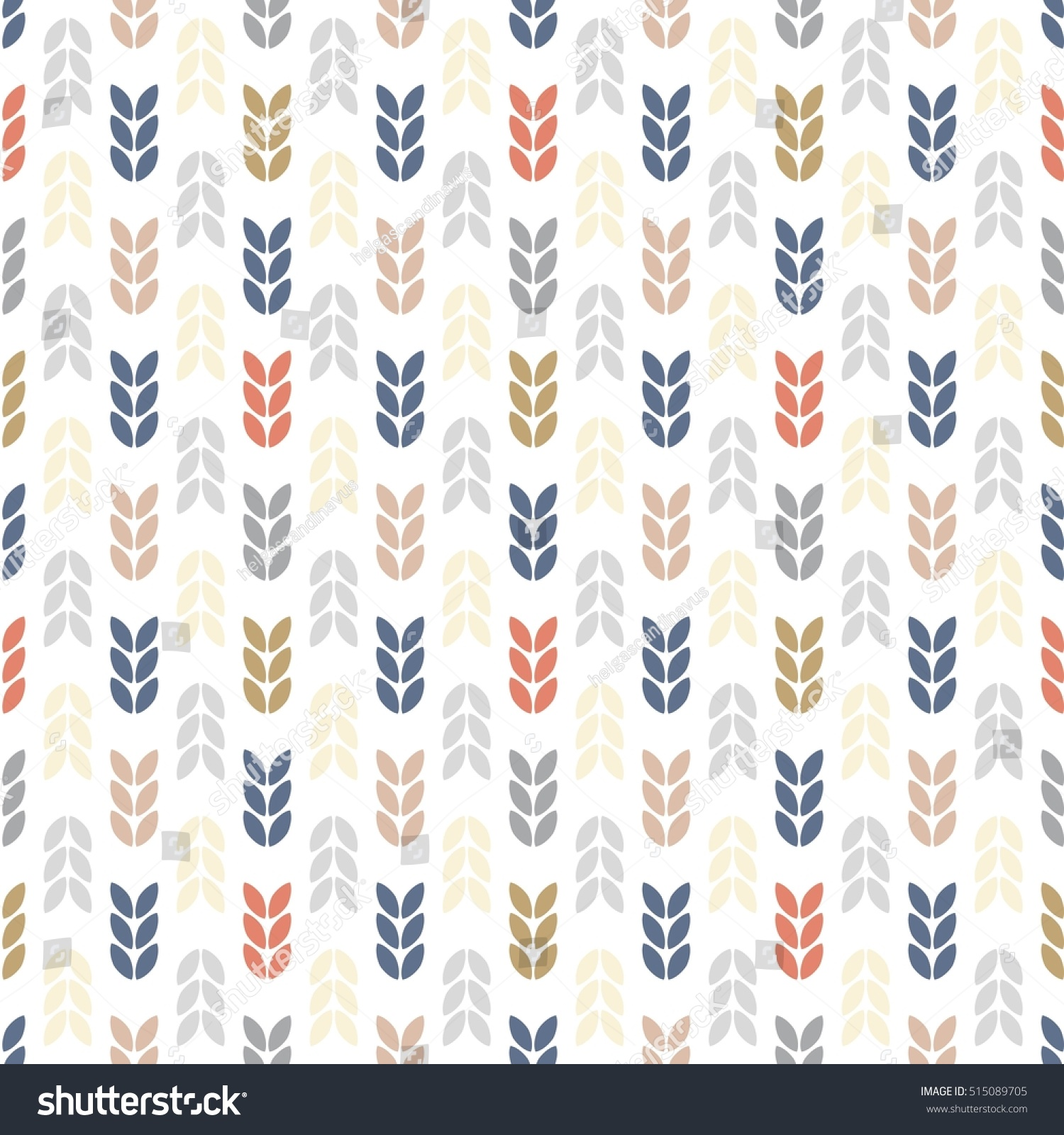 Seamless fir tree scandinavian pattern textile background wrapping - Scandinavian Nature Abstract Leaves Retro Background Stock Vector