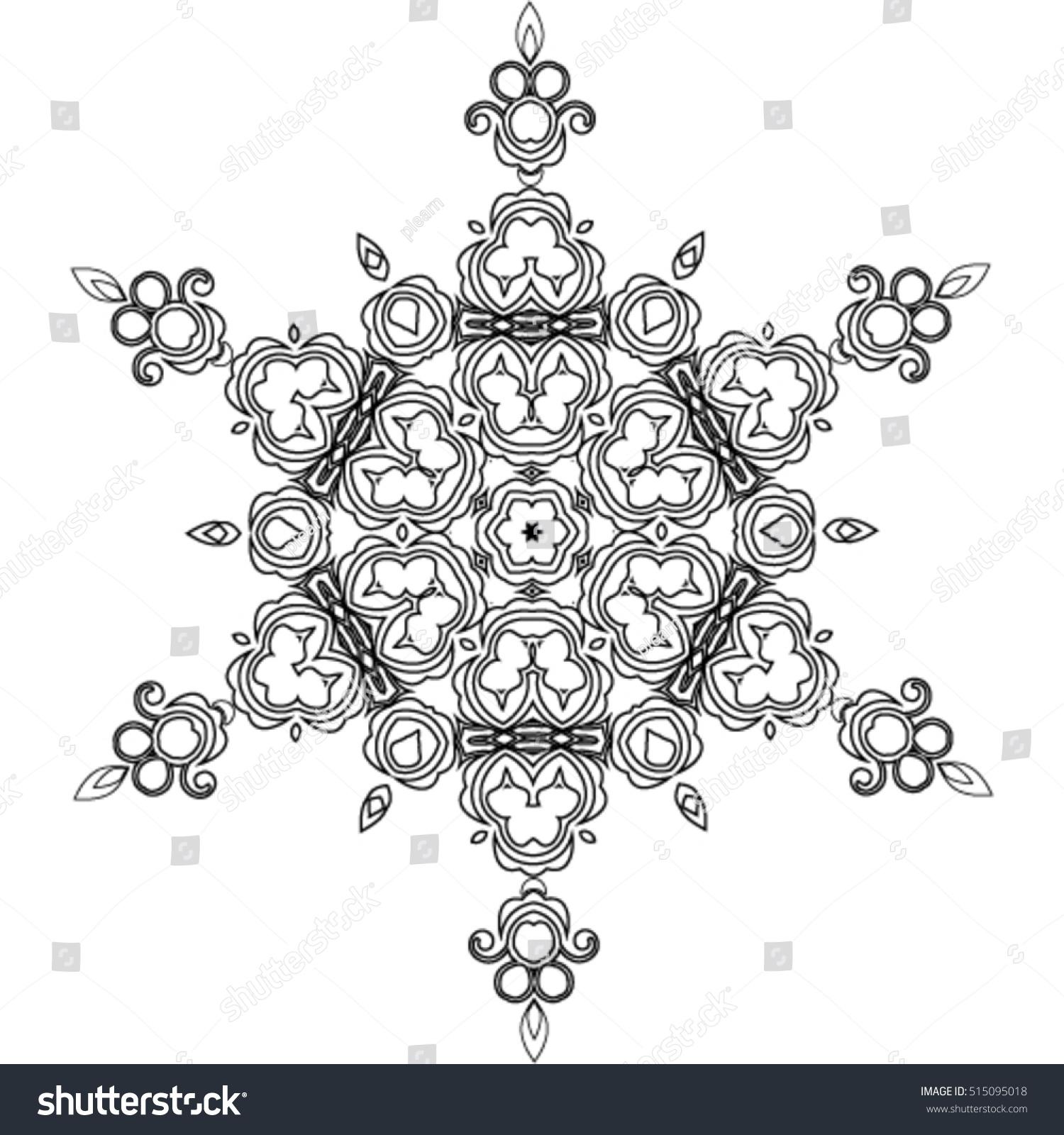 abstract mandala snowflake line art design stock vector 515095018