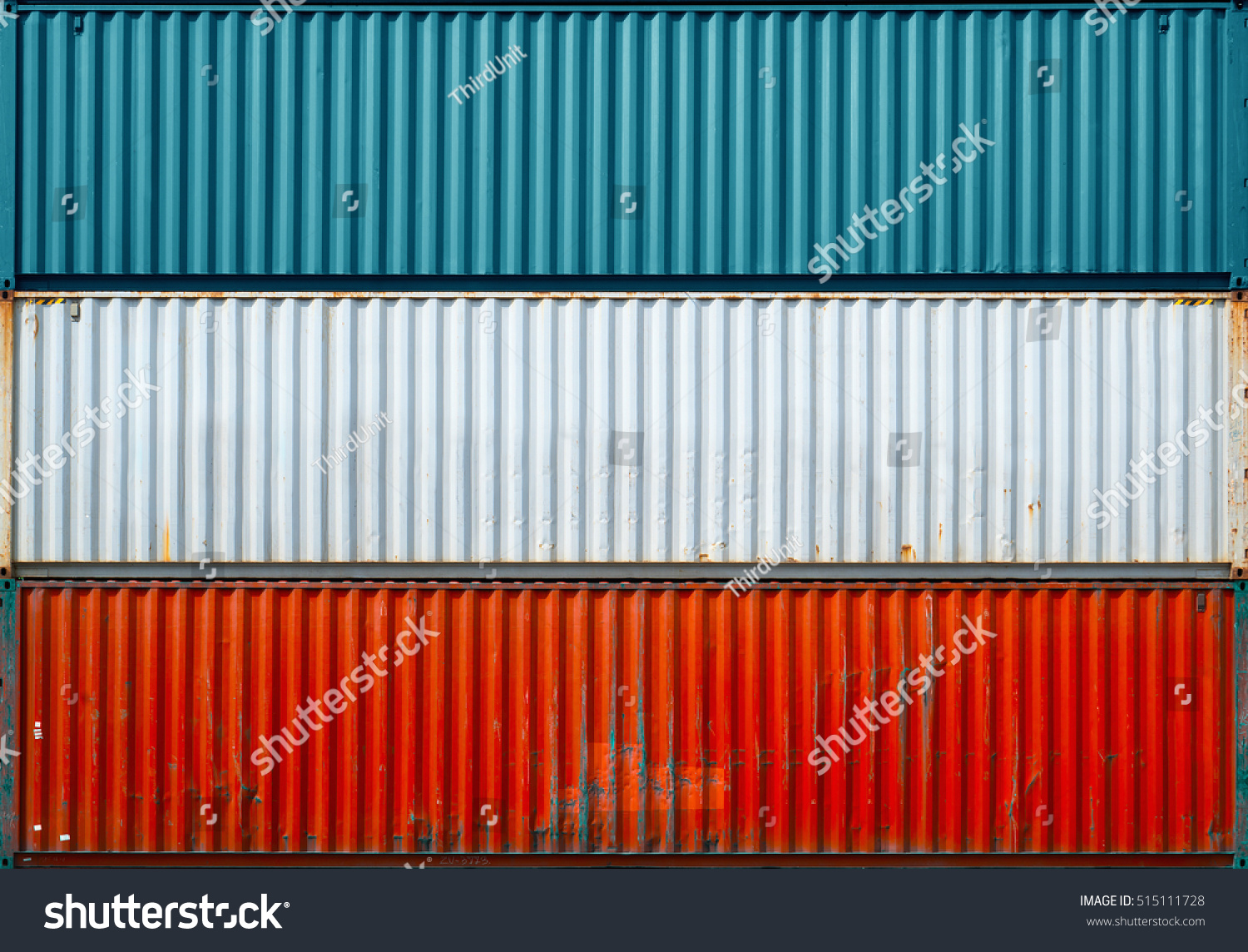 The surface texture of the sea container.Three containers without labels. #515111728