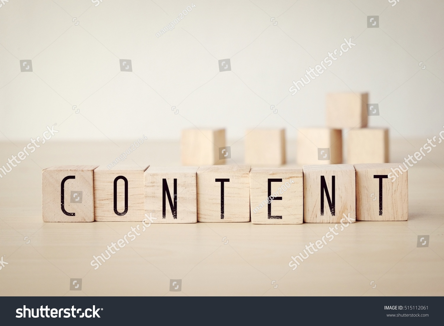 Content word on wooden cubes background, digital marketing concept #515112061