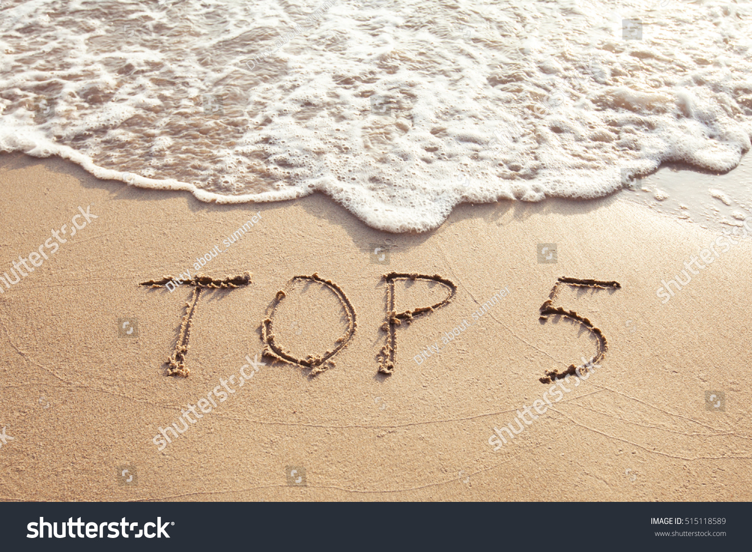 top 5, sign concept, list of five best, text on the sand beach #515118589