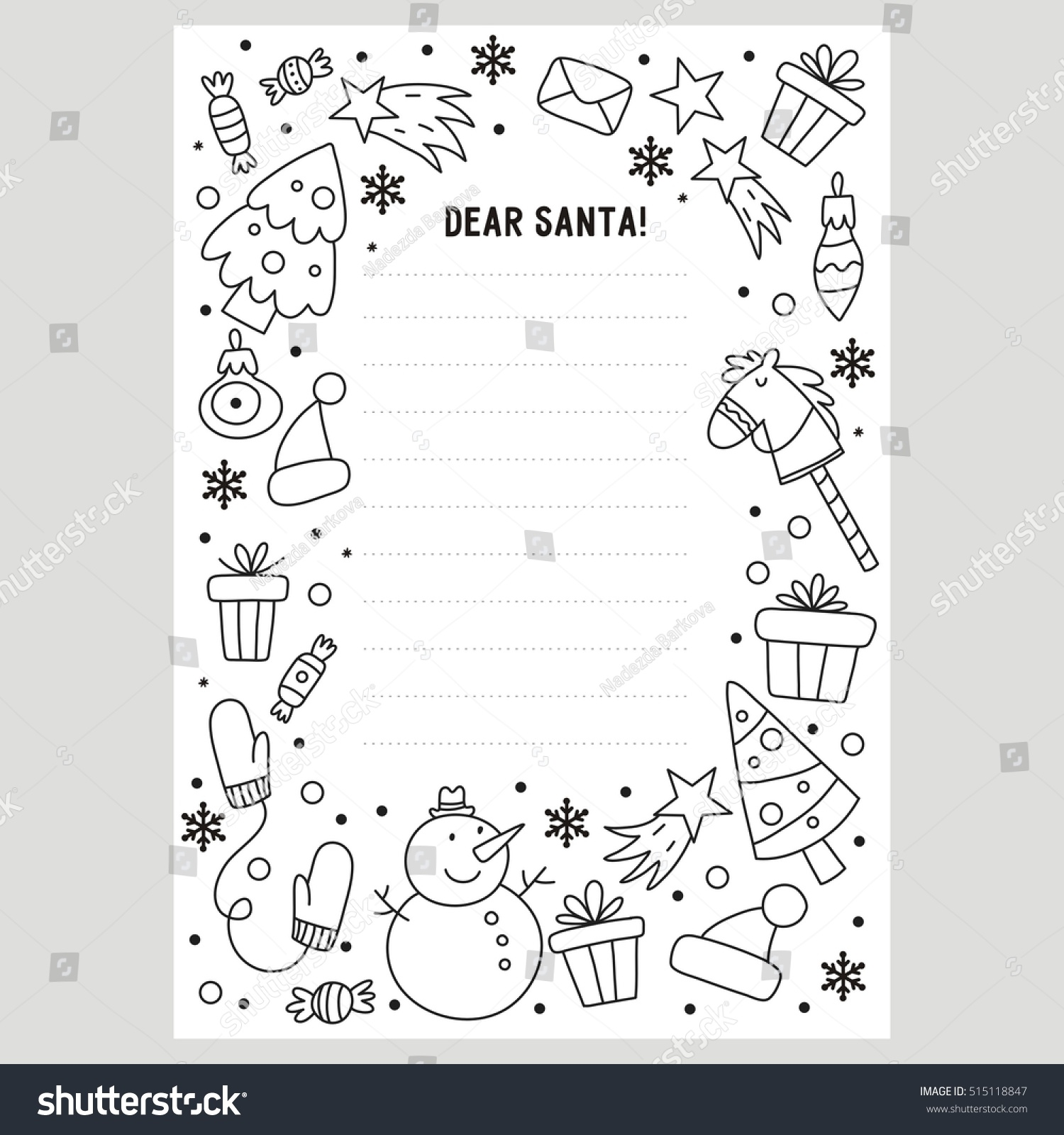Coloring Pages Letters To Santa : Dear santa letter coloring page stock vector