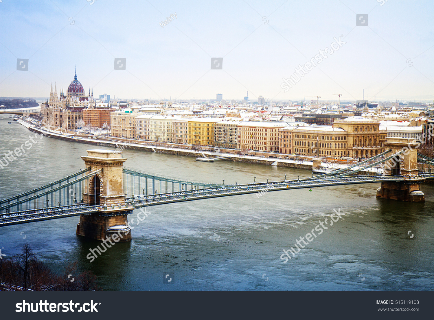Cityscape Budapest Parliament Building Chain Bridge Stock