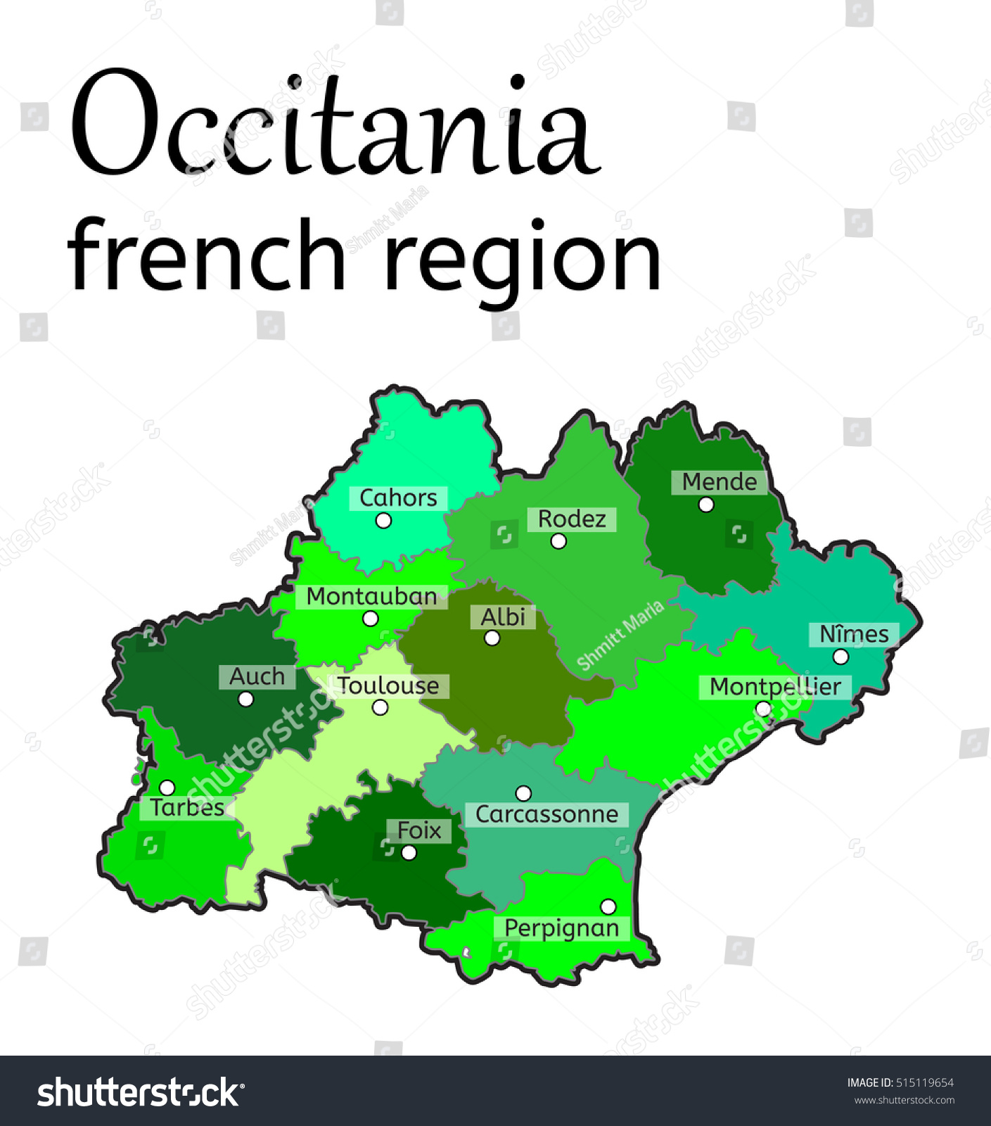 Occitania French Region Map On White Stock Vector 515119654