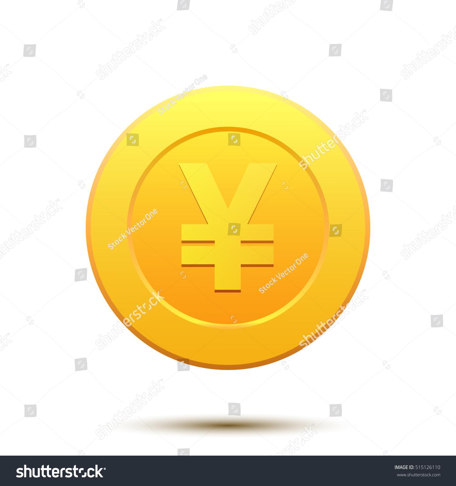 Coin Japan Yen Symbol Gold Cartoon Stock Vector Royalty Free