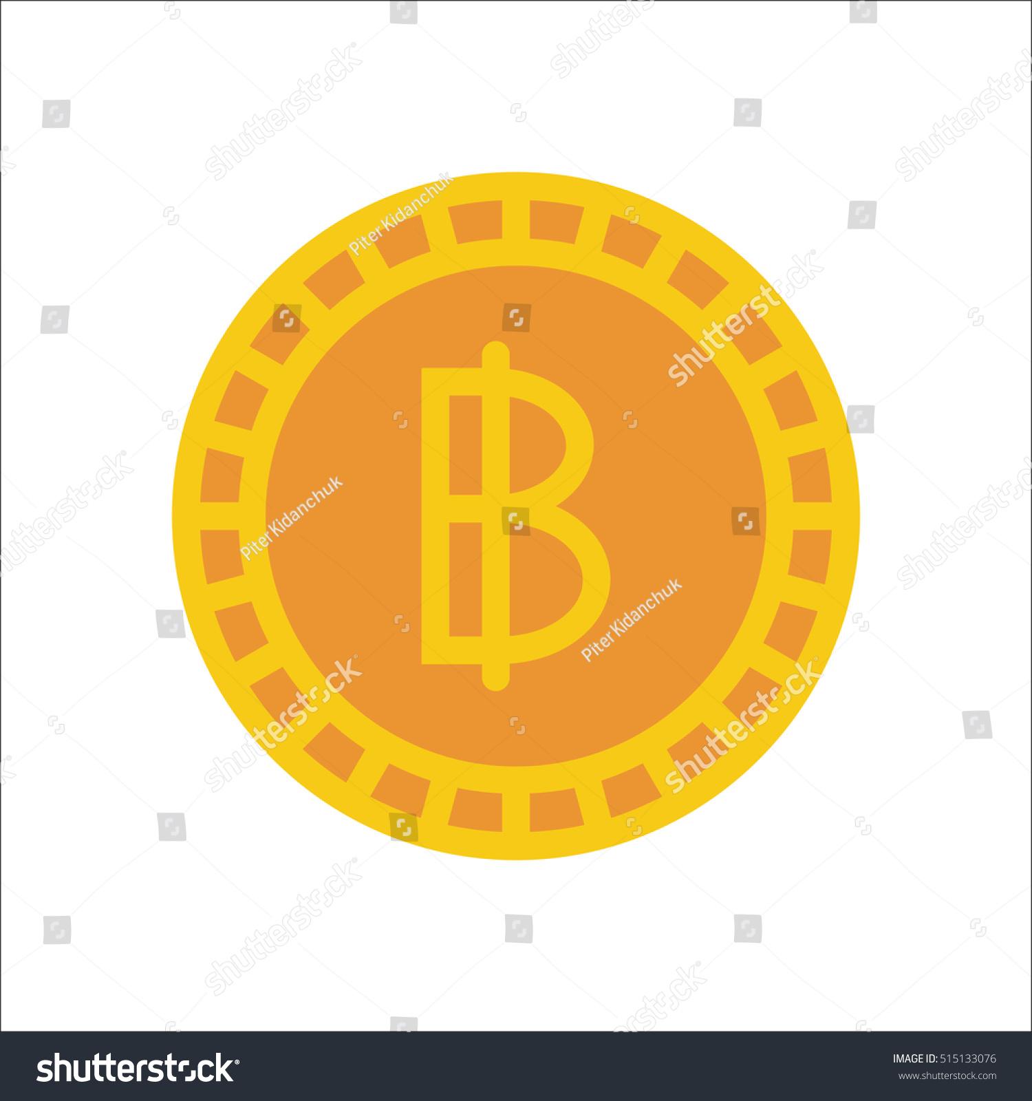 Thai Baht Coin Symbol Sign Flat Stock Vector Royalty Free
