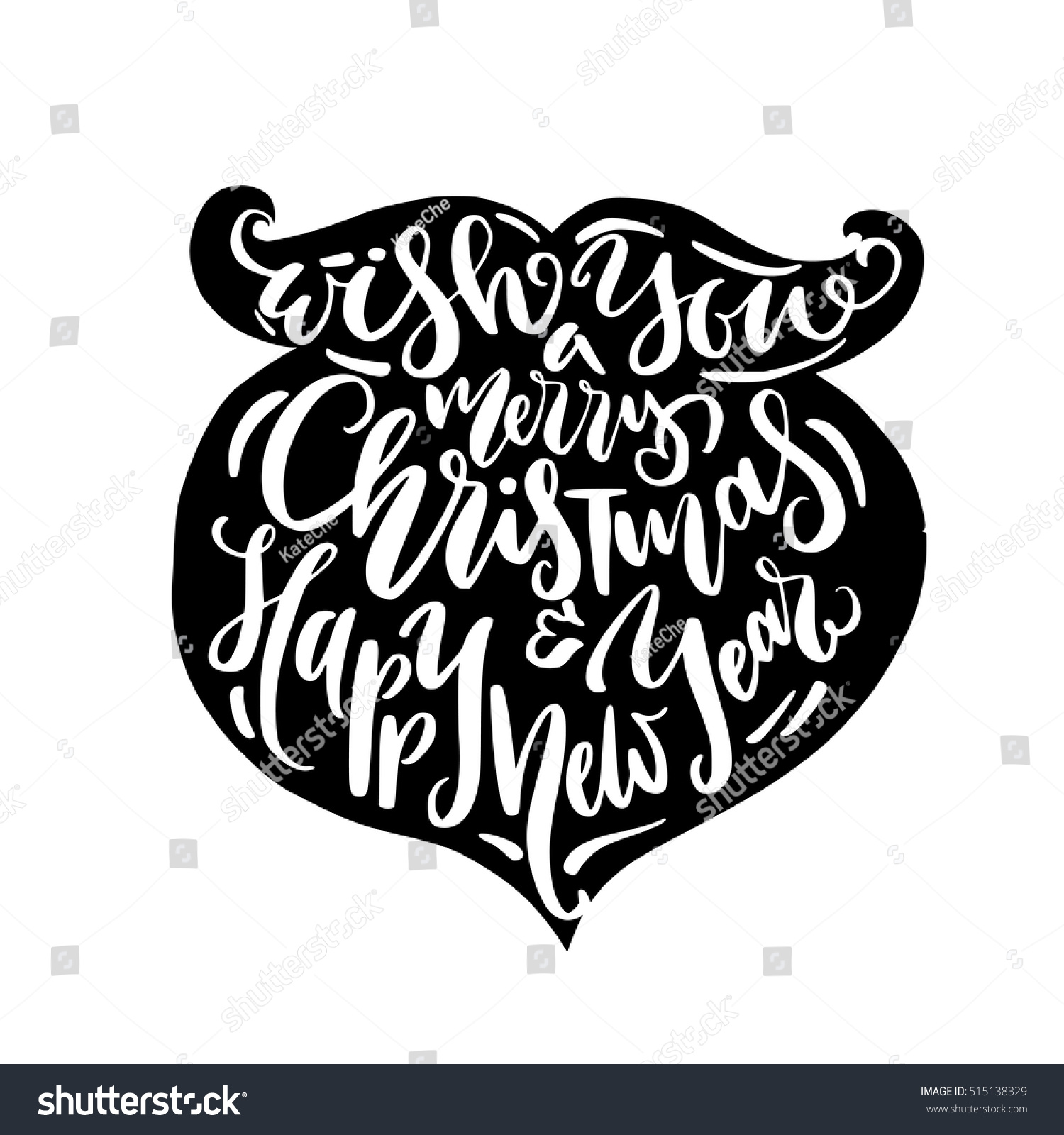 Christmas illustration beard silhouette calligraphy greetings stock christmas illustration beard silhouette with calligraphy greetings happy new year hand drawn lettering design for kristyandbryce Gallery