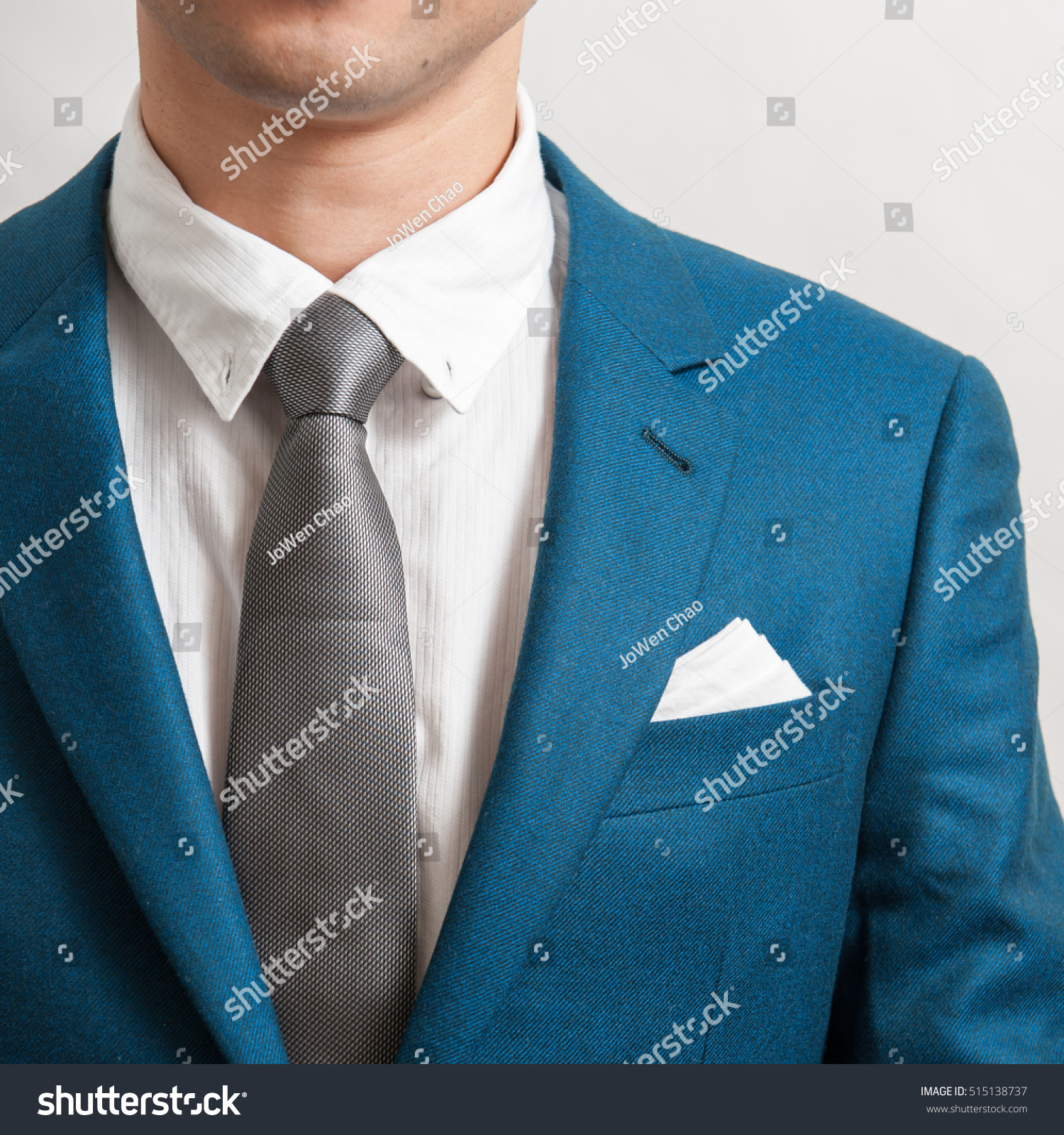 Man Blue Suit Silver Necktie White Stock Photo (Royalty Free ...