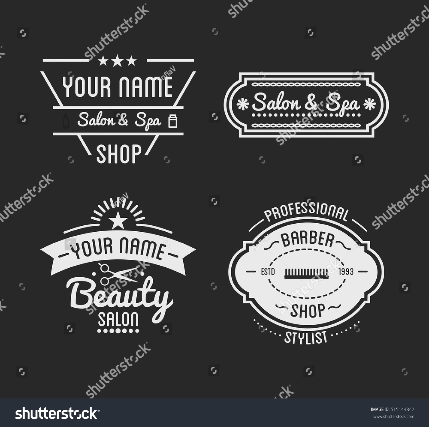 Clip art vector of vintage barber shop logo graphics and icon vector - Set Of Vintage Barber Shop Logo And Beauty Spa Salon Badges Vector Elements Isolated
