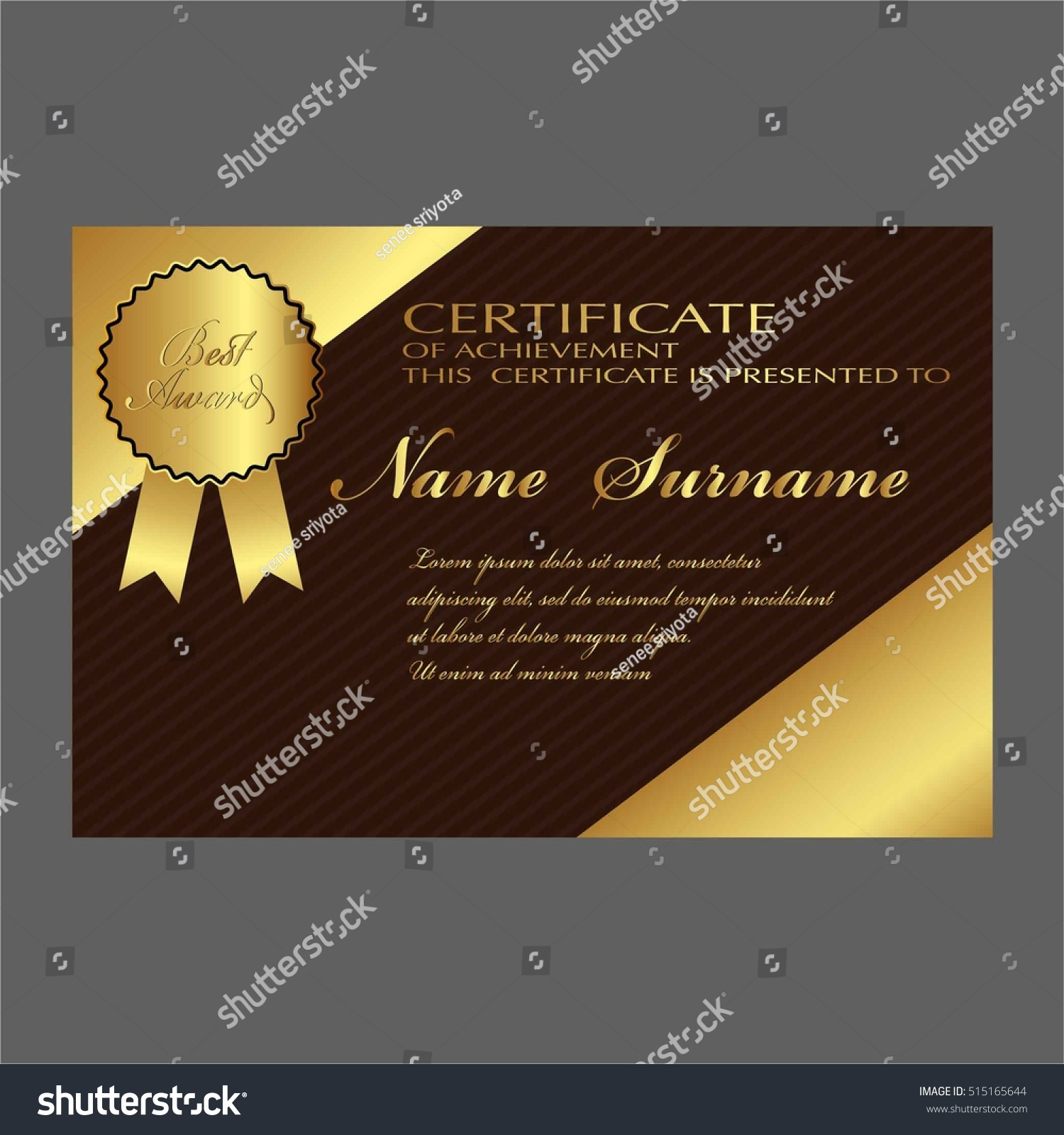 Certificate Template Luxury Modern Pattern Qualification Stock