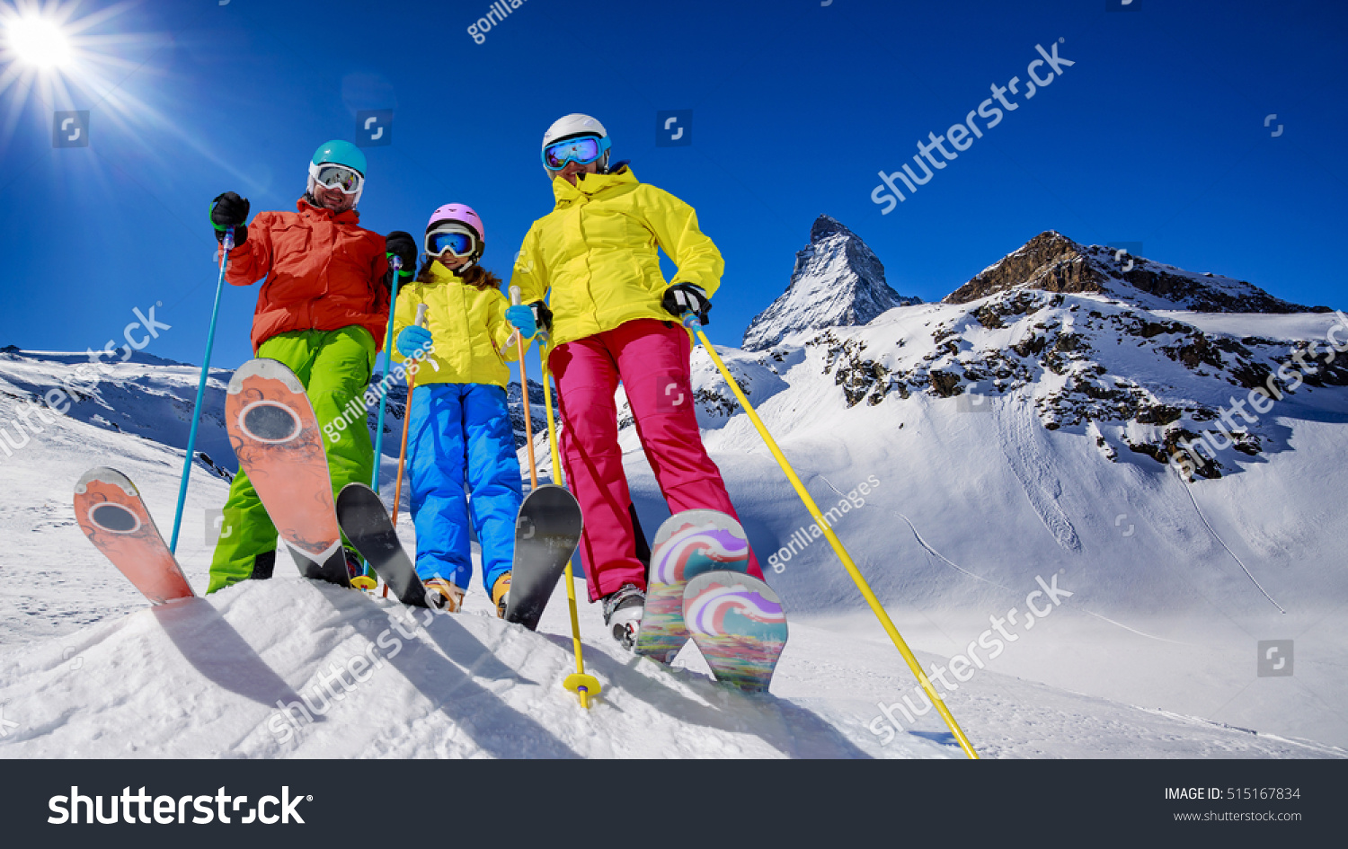 Skiing winter snow sun fun family stock photo 515167834 for Vacation in the snow