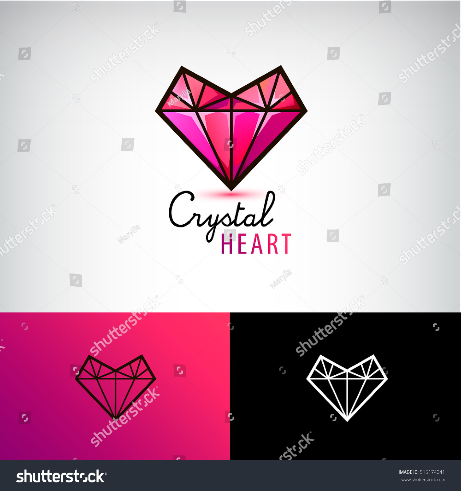 Vector Chrystal Heart Icon Jewelry Logo Stock Vector ...