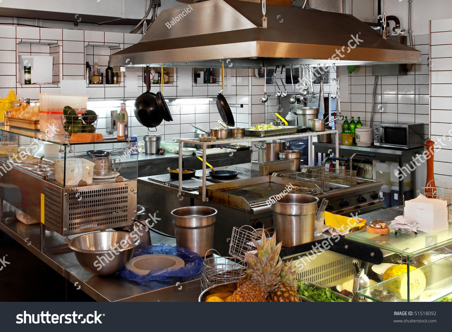 Interior Of Professional Chef Kitchen In Restaurant Stock