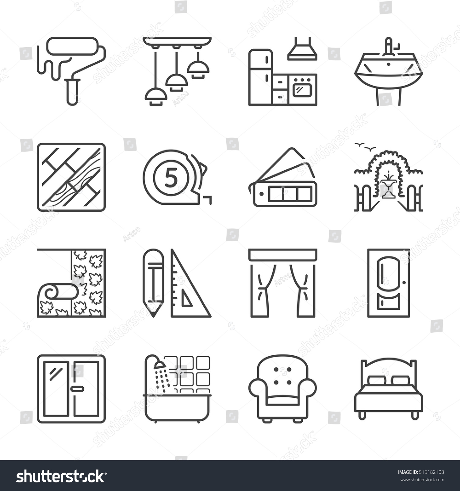 home decoration and furniture thin line icon set, black color, isolated