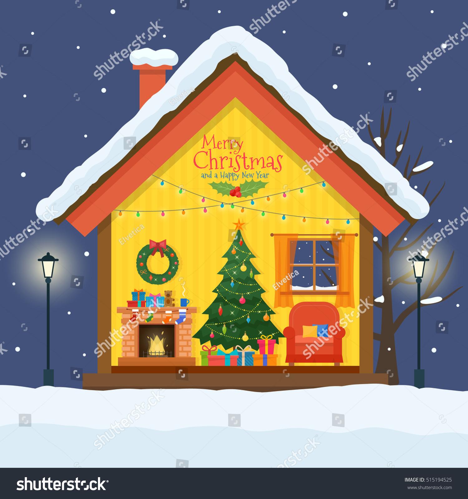 christmas house cut snow house interior vectores en stock