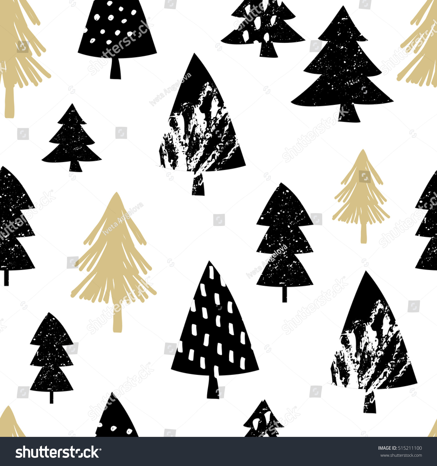 Seamless Repeating Pattern Christmas Trees Black Stock Vector