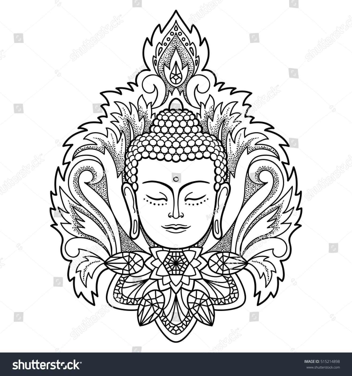 buddha head floral decoration sign tattoo stock vector 515214898