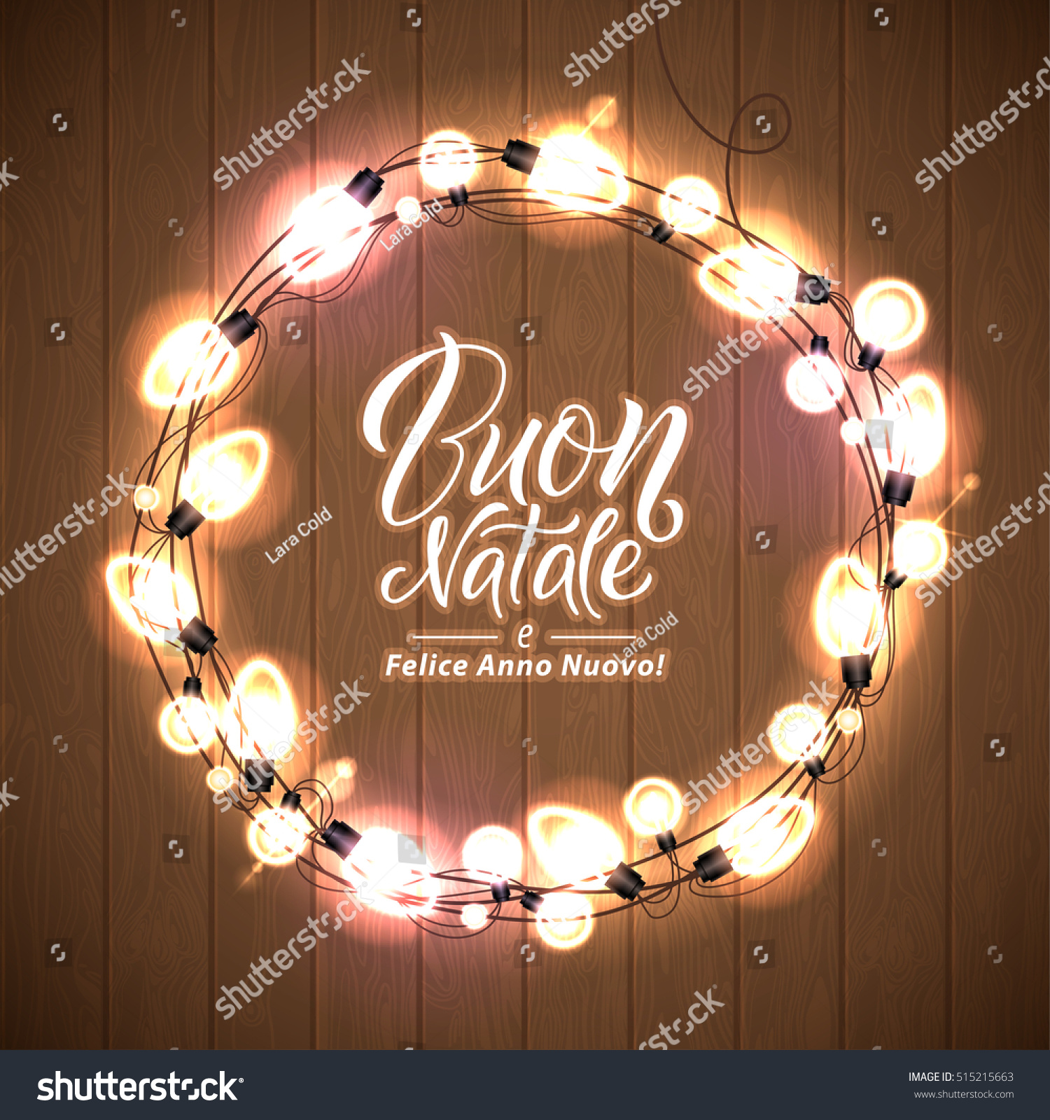 Merry christmas happy new year italian stock vector 515215663 merry christmas and happy new year italian language glowing christmas lights wreath for xmas kristyandbryce Gallery
