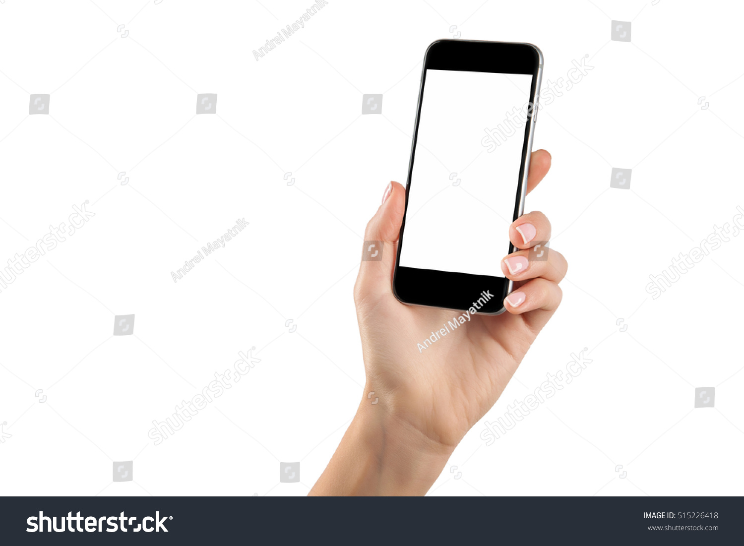 Female hand holding black cellphone with white screen at isolated background. #515226418