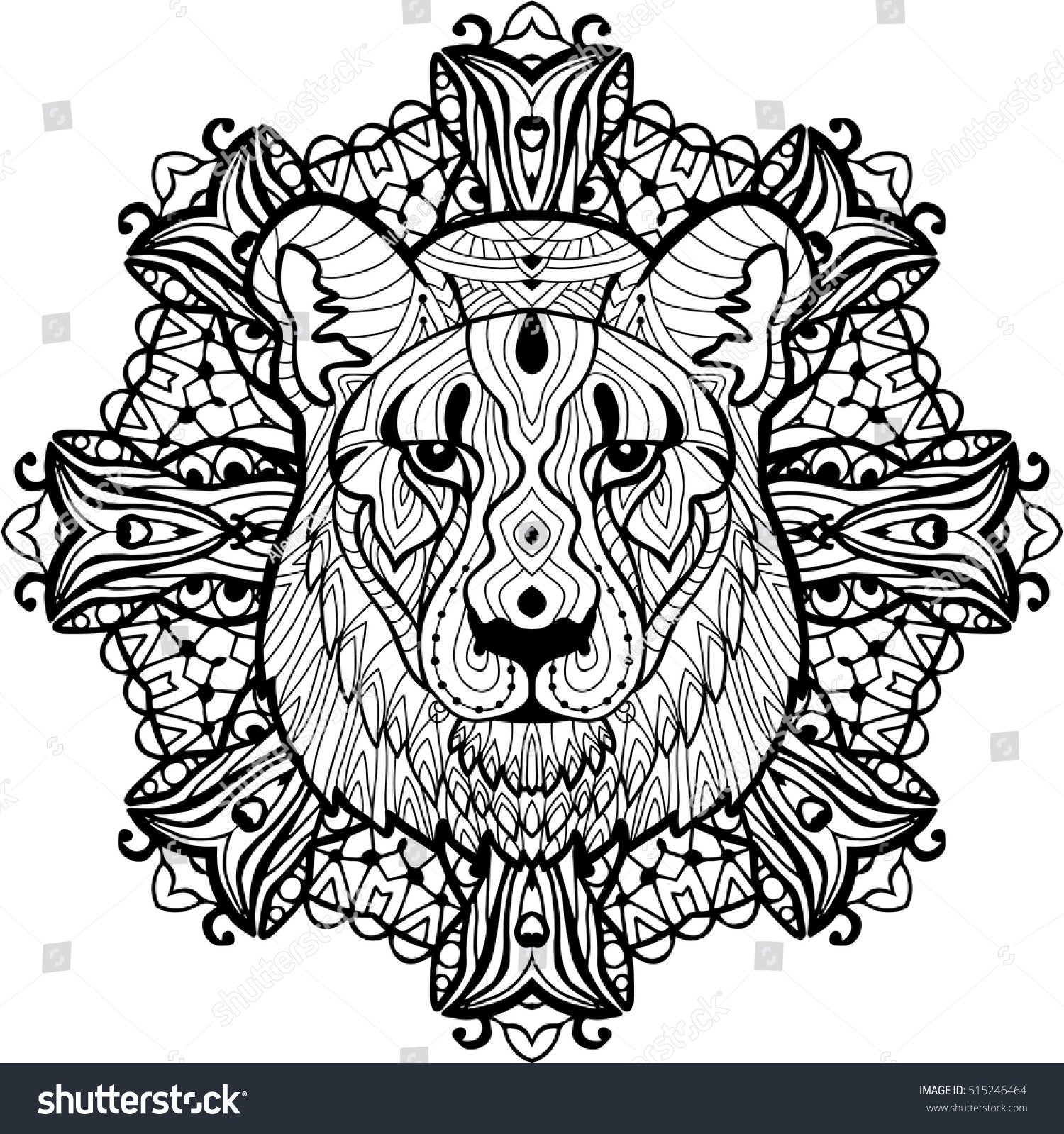 totem coloring page adults painted predatory stock vector
