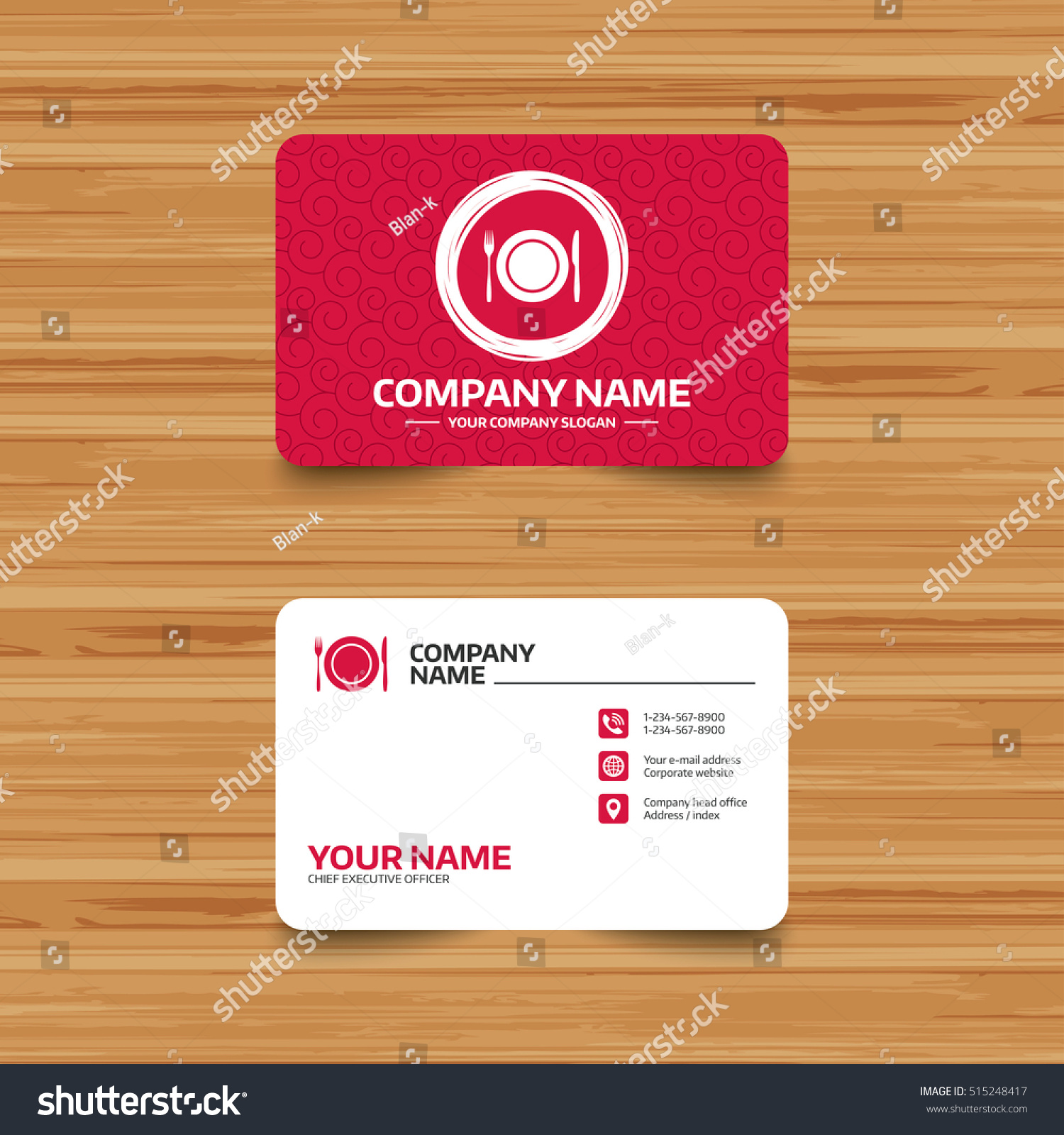 business card template texture plate dish stock vector