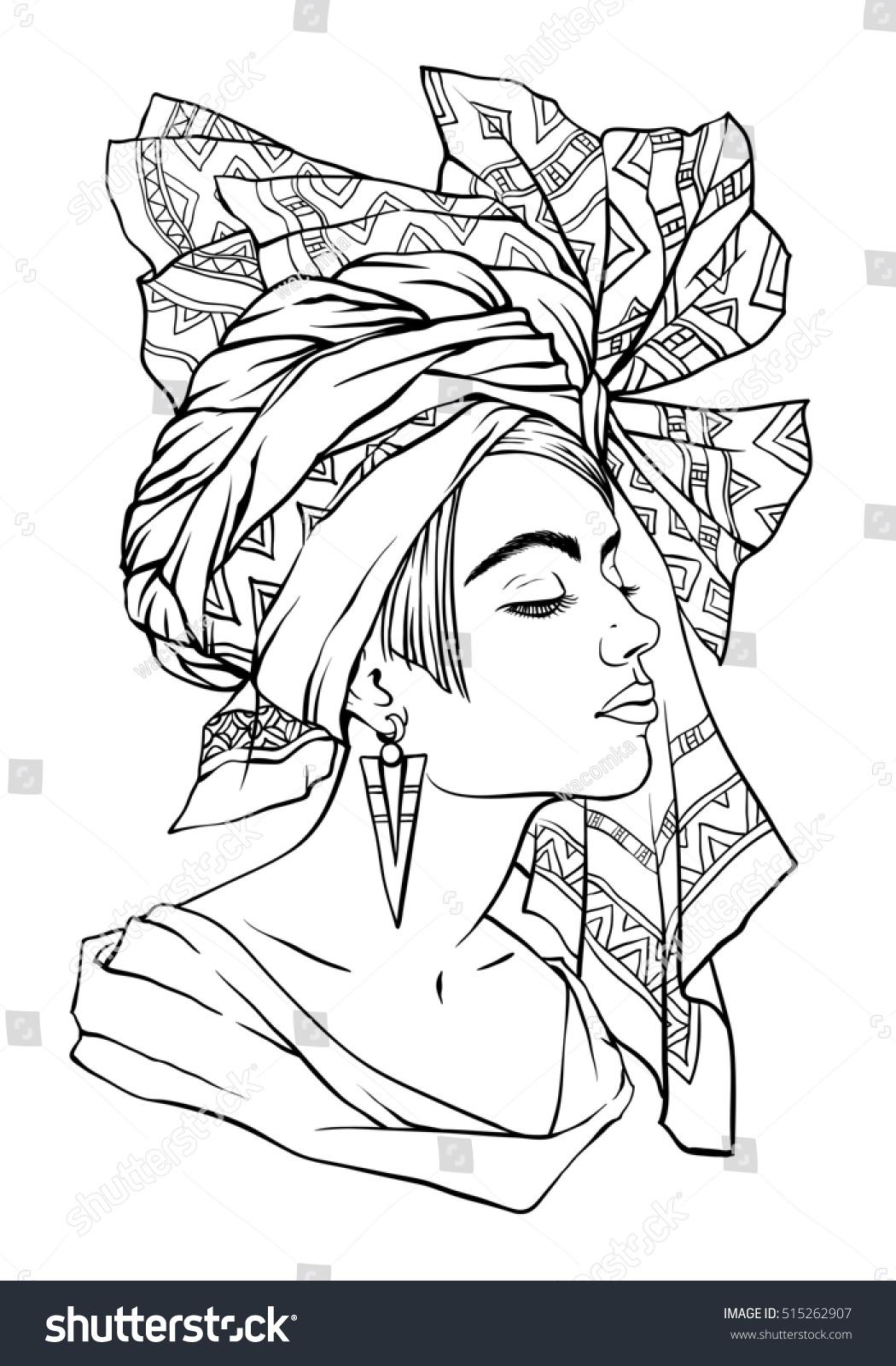 Line Art Woman : Vector fashion illustration beautiful young woman stock