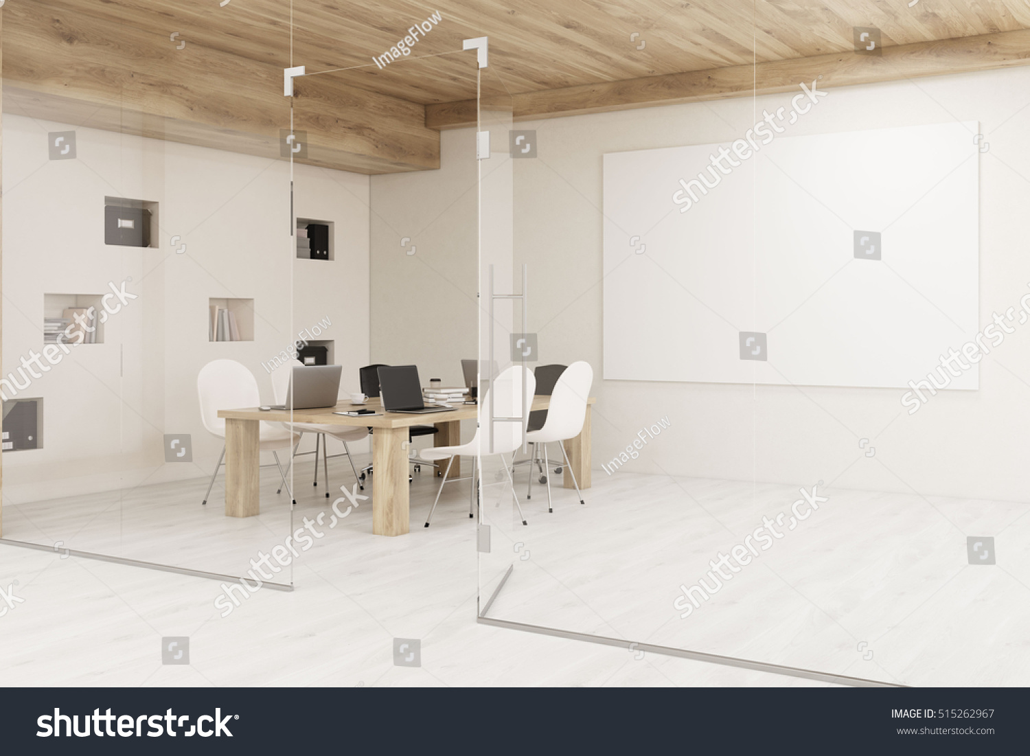 Conference room with glass walls horizontal poster and a wooden ceiling Concept of modern interior design 3D rendering Mock up