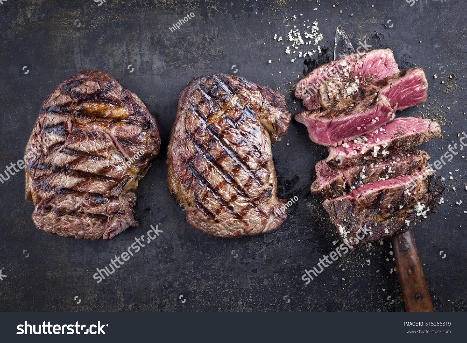 Barbecue Entrecote Steaks On Old Metall Stock Photo