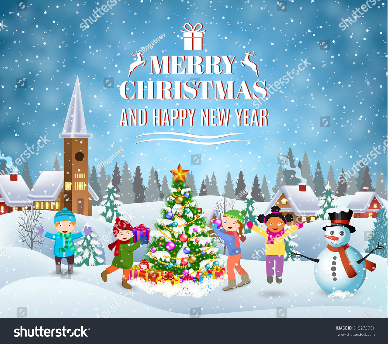 Happy New Year Merry Christmas Greeting Stock Vector 2018