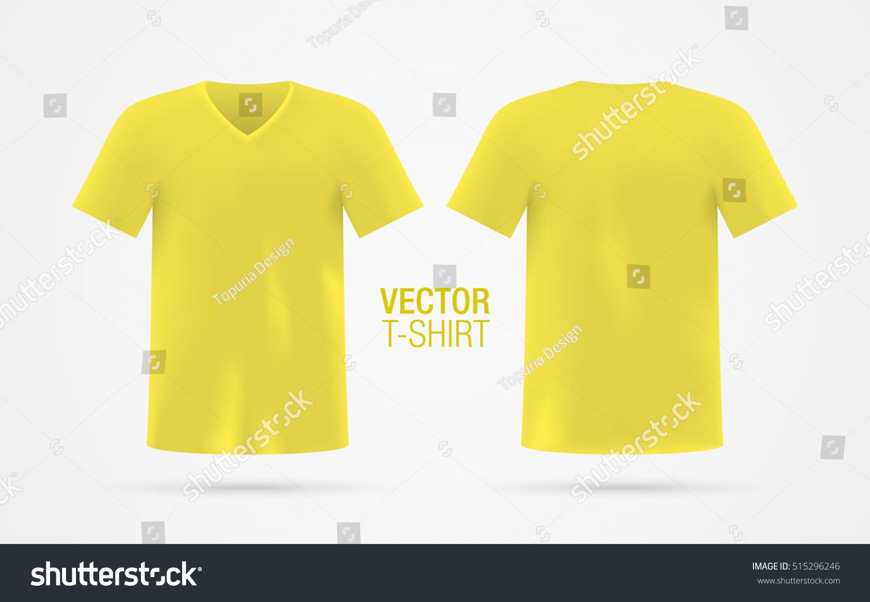 Yellow Vector Vneck Tshirt Template Mens Stock-vektorgrafik ...