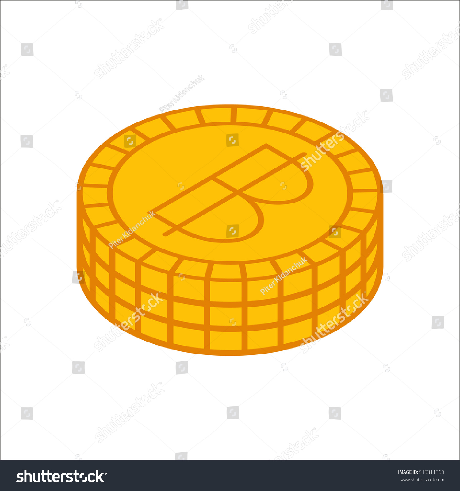 Thai Baht Coins Symbol Sign Flat Stock Photo Photo Vector