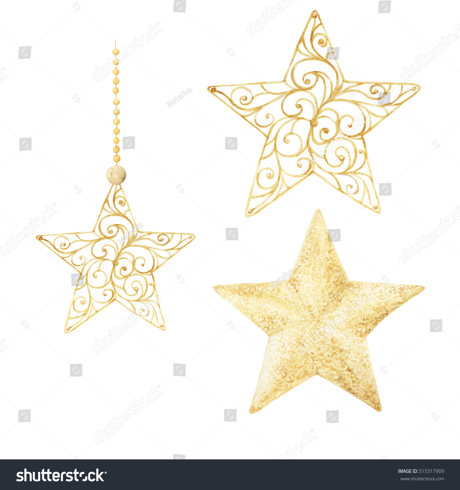 watercolor christmas stars christmas decorations decorative elements hand drawn watercolor illustration - Christmas Star Decorations