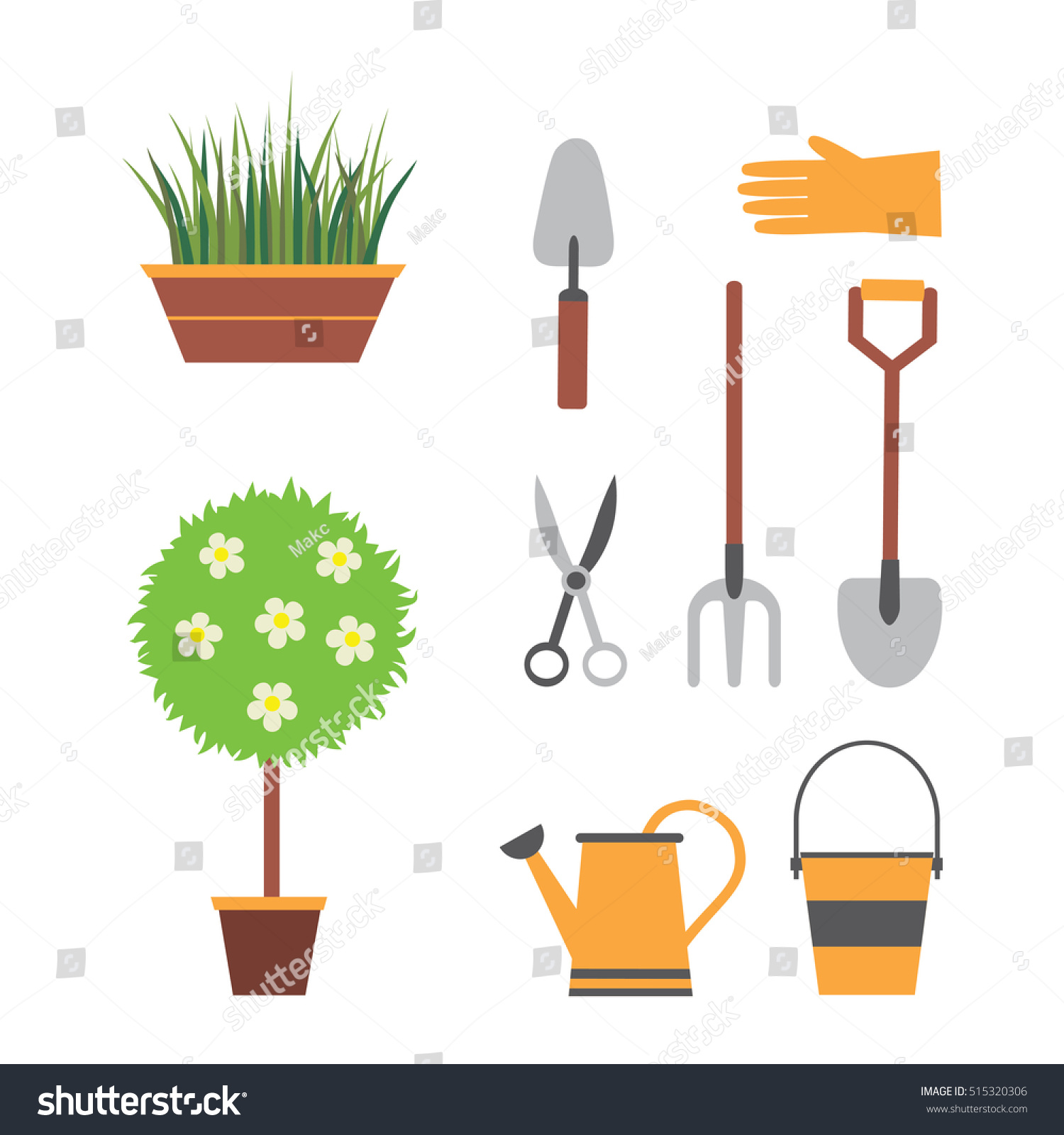 Garden Tools, Gardening, Set For Garden With Plants, Shovel, Watering Can,