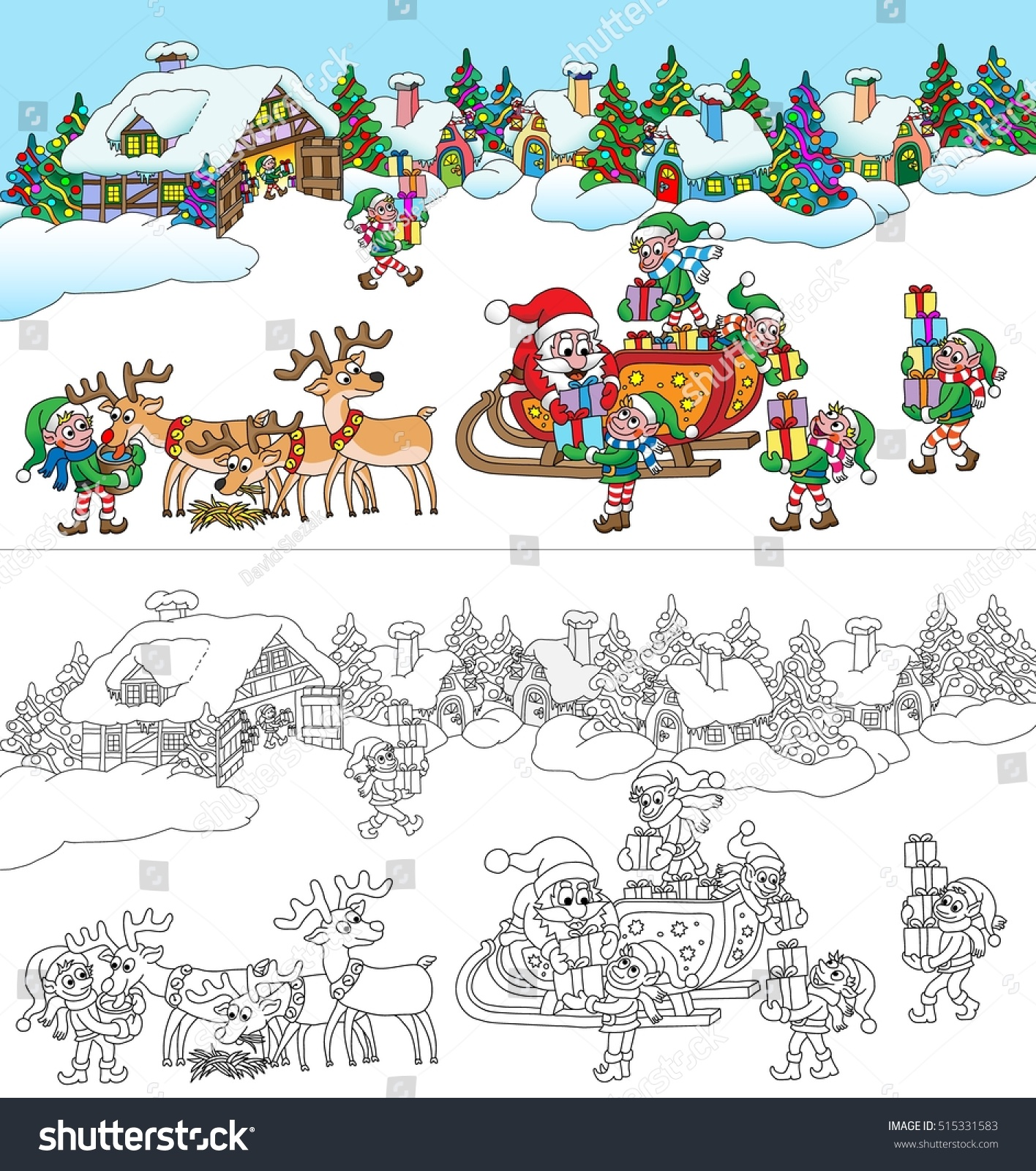 santas village coloring book page vector cartoon illustration