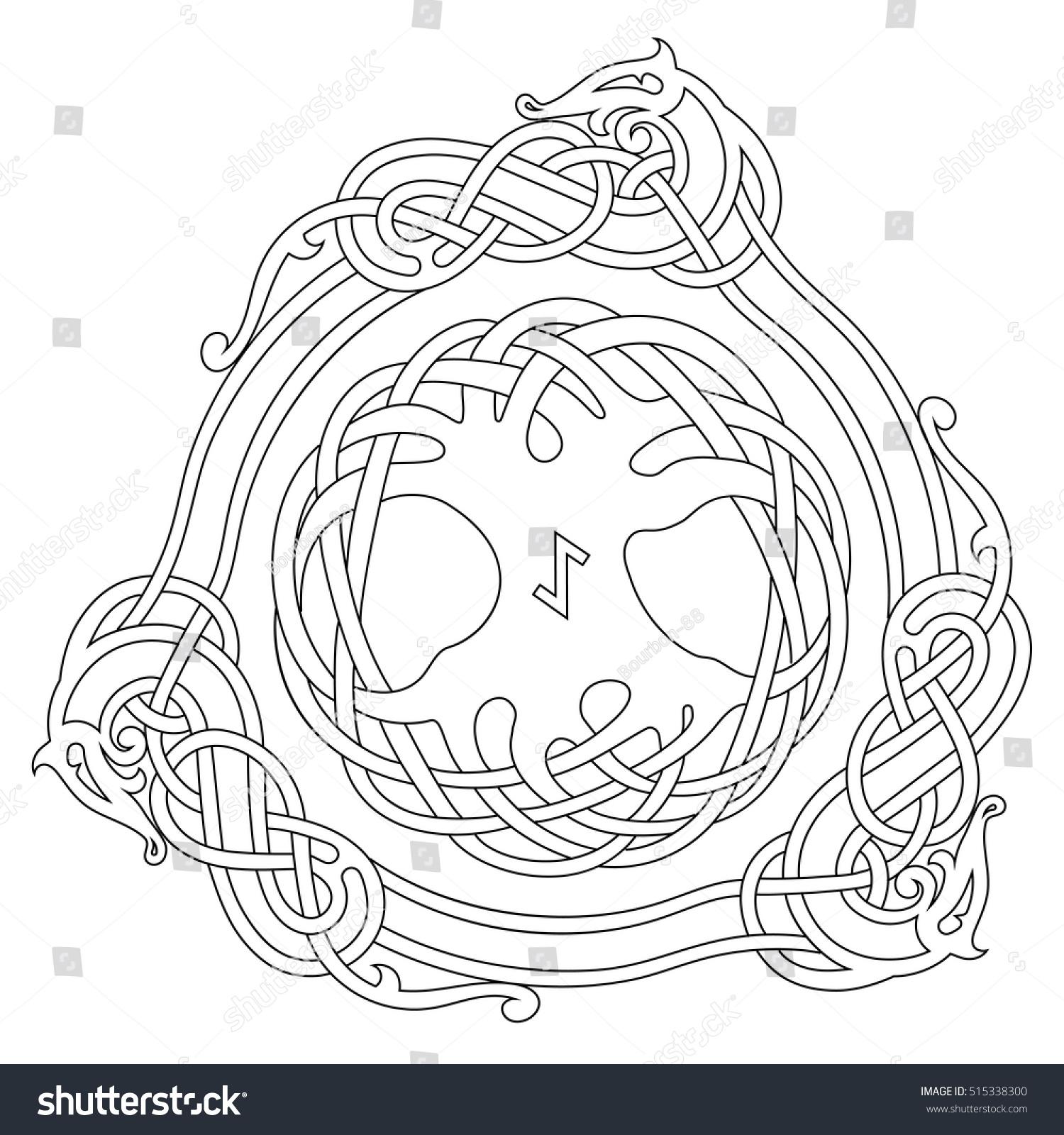 Scandinavian Design The Tree Yggdrasil In Nordic Pattern Vector Illustration