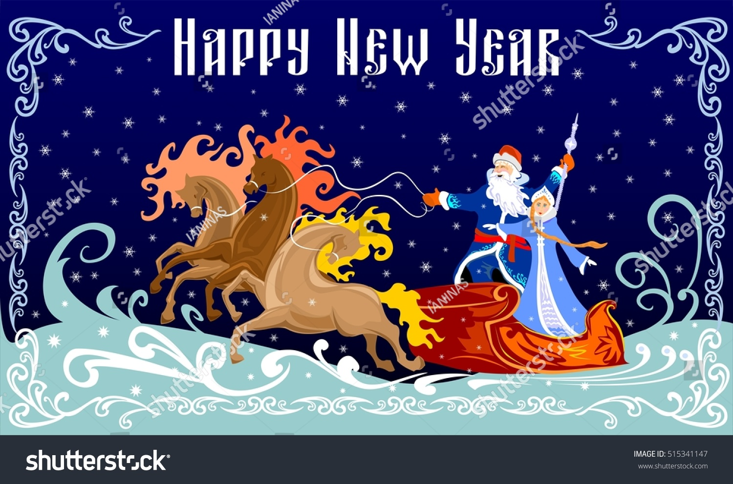 happy new year card the russian santa claus flies on sledge over the field and