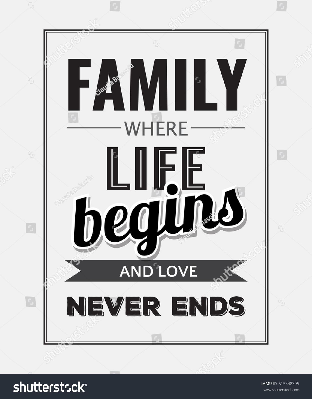 Retro Motivational Quote Family Where Life Stockvector Rechtenvrij