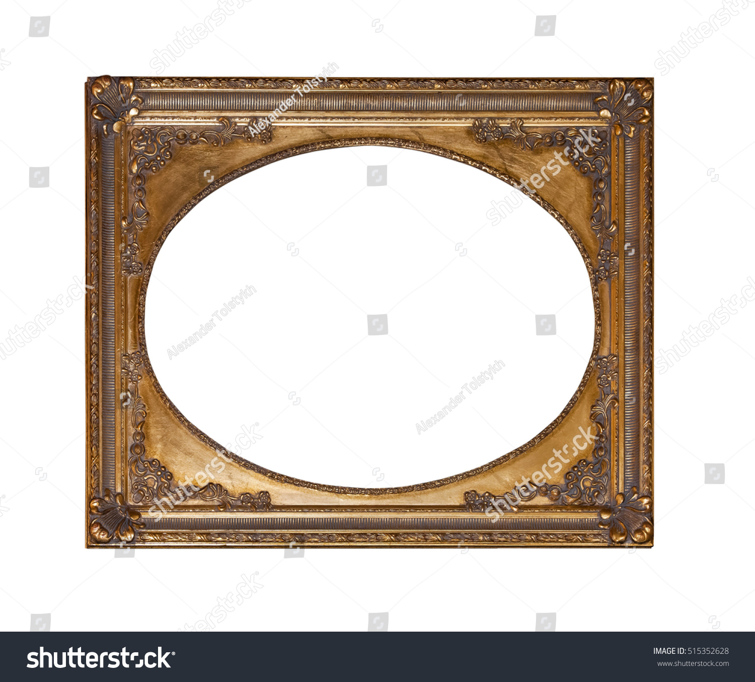 Antique gold frame for painting isolated on white background | EZ Canvas