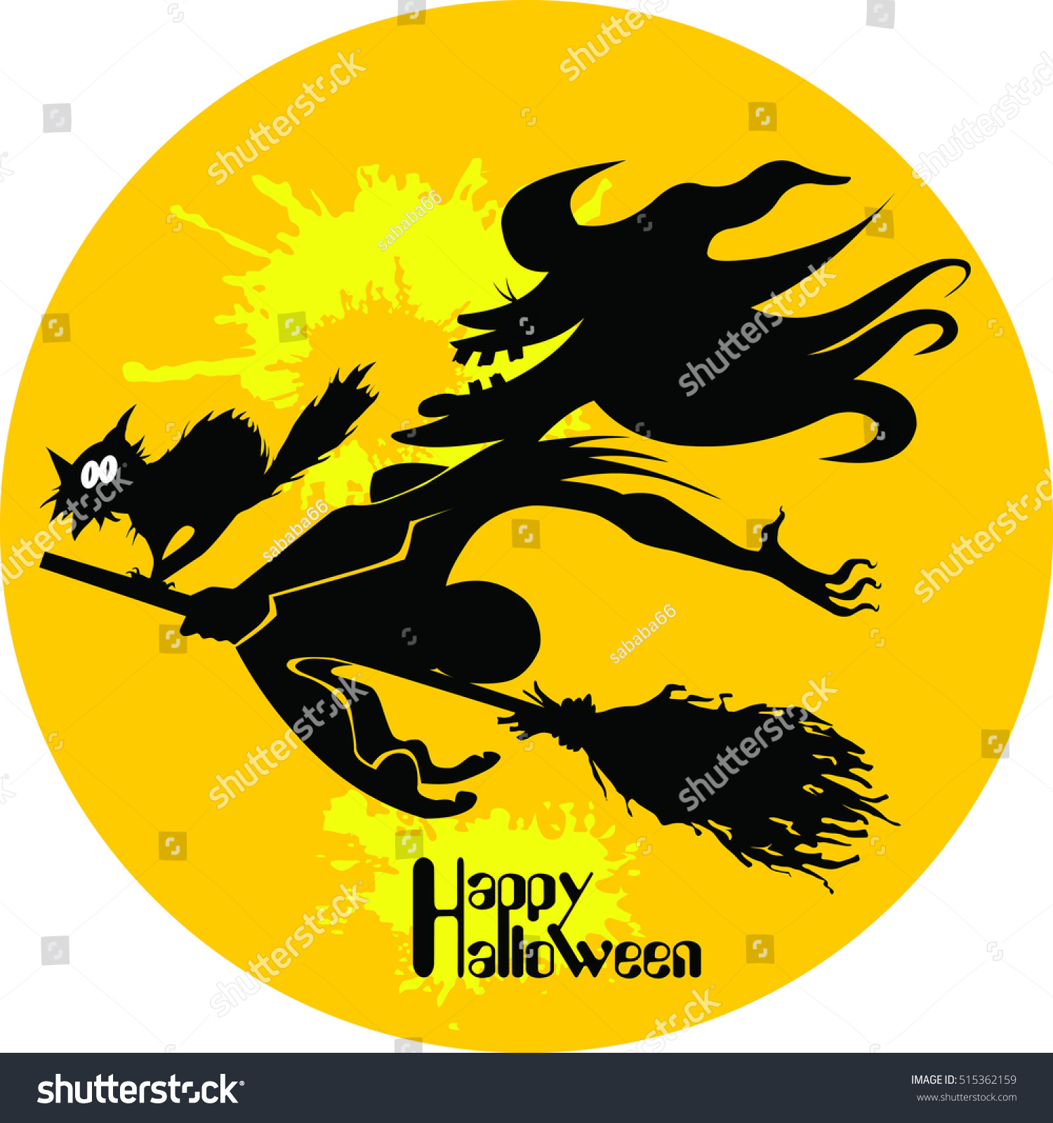 silhouette witch black white image halloween stock vector