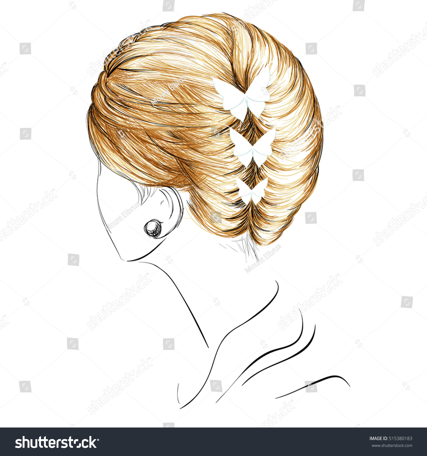 Sketch French Twist Hairstyle Butterflies Vector Stock Vector (2018 ...