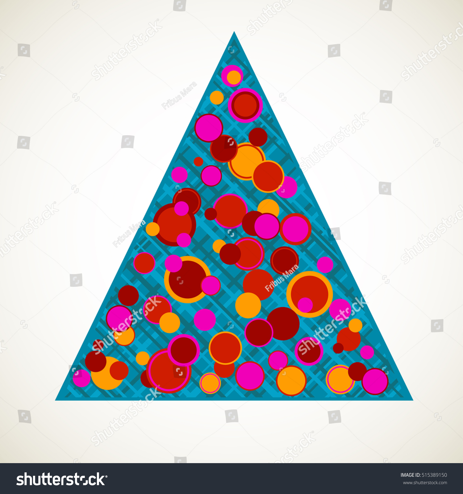 Stylized christmas tree scattered ornaments star stock